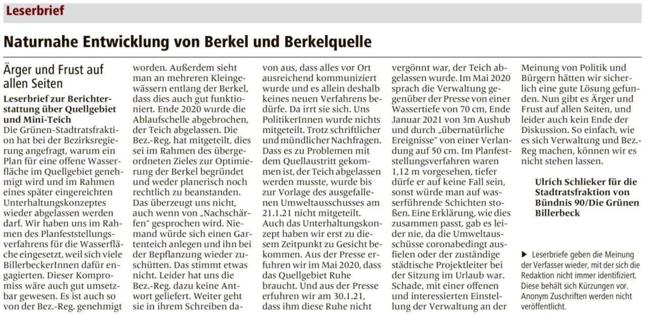 Leserbrief von Urich Schlieker für die Grüne Ratsfraktion im Billerbecker Anzeiger